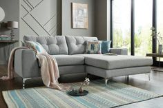 10 stylish corner sofas under - suitable for a range of different styled homes, from retro to scandi and everything inbetween! Velvet Corner Sofa, Corner Couch, Home Living Room, Living Room Designs, Unique Sofas, Elegant Sofa, Sofa Inspiration, Beautiful Sofas, Diy Sofa