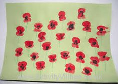 Thumbprint poppies. I want to make this into a pillow with my kiddos thumbprints