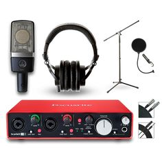 Focusrite 2i4 Recording Bundle with AKG Mic and Audio-Technica Headpho