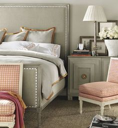 gray bedroom by Suzanne Kasler for Hickory Chair Furniture Co