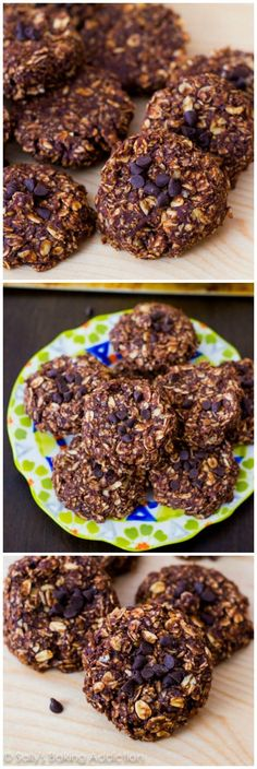 Skinny Chocolate Peanut Butter No-Bake Cookies. These lightened-up cookies are only made with 7 wholesome ingredients!