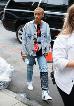 8ee430dd9d4ac5 Jaden Smith Seen At G-Star Raw Show Wearing Levi s Jacket