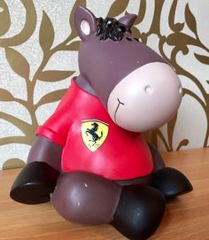 "Rare Red Ferrari Horse Money Box Handmade by NICI 6"" Formula 1 F1"