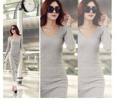 Hot sale! Elegant dress 2016 new fashion Sexy slim long sleeve Mid-calf Women Dresses plus size S-3XL