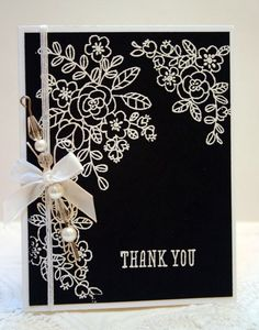 Stampin' Up! So Very Grateful black and white handmade thank you card