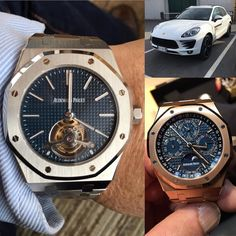 Audemars Piguet Royal Oak Extra Thin Tourbillon 41 mm stainless Steel case blu dial with Petite Tapisserie Royal Oak Perpetual Calendar 18-carat Yellow Gold case blu dial with Grande Tapisserie Porsche Macan #tourbillon#Perpetual #calendar #porsche #porschedrivingexperience #911gt3cup #918spyder #991 #macan #helicopterpilot #helicopterpilotlifestyle #climbing #lovecycling #livignoicedrivingschool #watching #watchporn @volta_spa_piacenza #friends by giuliano_56