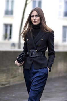 Spotted at Paris Fashion Week: Belted waists and monochrome tailoring.