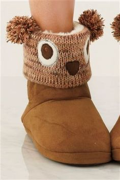 Knitted Owl Slipper Boots from Next - how cute!