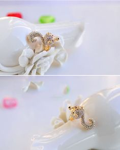 Beaded Crystal #Fashion Unique #Golden Fox #Ring Wholesale.  #Gift #Jewelry #Wedding #Party #Birthday