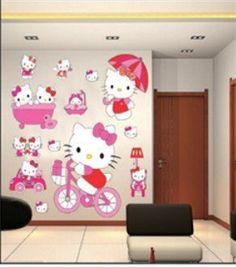 Hello Kitty Wandsticker Hallo Kitty Wanddekoration Kinder Wandbild Aufkleber