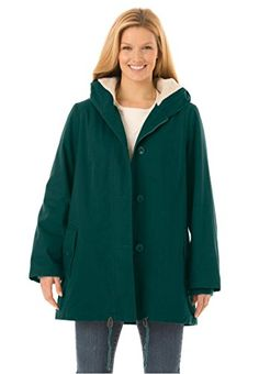 Womens Plus Size Hooded Parka Jacket Has ALine Shaping Emerald Green14 W *** Read more reviews of the product by visiting the link on the image.