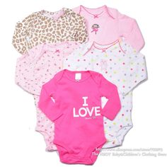 Free shipping 2013 new Brand Carters Baby clothing Baby Grils 5pcs/lot Rompers Bodysuits wear cotton  Autumn Winter Hot selling $18.50 - 18.90