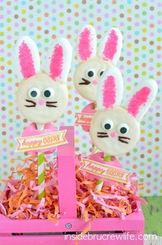 Chocolate covered Oreo cookies decorated to look like bunnies are such a fun treat to fill baskets with!