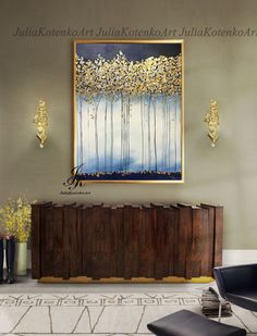 Large Abstract Oil Painting Gold Leaf Art Trees Gold Painting