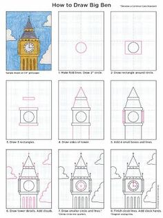 Art Projects for Kids: How to Draw Big Ben. Includes print friendly pdf file. #artprojectsforkids
