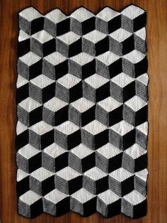 Isometric Blanket / Afghan - Geometric Black White & Grey Crochet