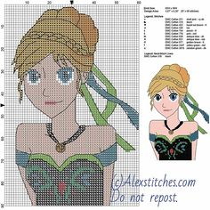 Anna free cross stitch pattern Disney 60x90 11 colors