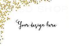 SET of 3 + FREE Cropped Image | Styled Stock Photography | Mockup | JPG Digital Image | Golden stars on white background styled stock | Christmas styled stock images