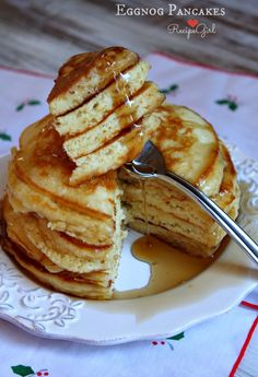 Easy Eggnog Pancakes #recipe