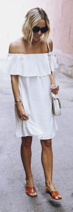 White Cute And Comfy Little Dress by Damsel In Dior