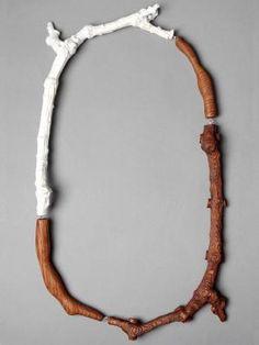 Nadya Fedotova, CNC Twig , 2014, necklace, CNC scanning, CNC milling, birch wood, oak wood, found object, silver, 320 x 210 x 30 mm, photo: Nadya Fedotova