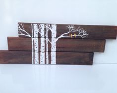 Made To Order: Reclaimed wood sign, pallet art, cabin decor - Aspen painting with birds