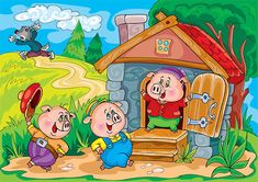 Three Little Pigs Kids Story Books, Stories For Kids, Christmas Jigsaw Puzzles, Famous Fairies, Pig Illustration, Three Little Pigs, Cute Pigs, Conte, Painting For Kids