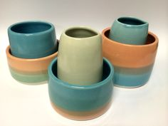 Collection of various pots from my new rainbow range. Visit www.sshannah.com for more functional ceramic loveliness.