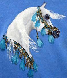 Sweatshirt hand painted Arabian horse art by jaxnancy on Etsy, $22.00