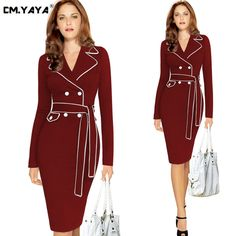 CMYAYA 2016 New Women Formal Winter Dark Red Full Sleeve Turn-down Collar Sashes Buttons Office Bodycon Knee-Length Dress at our web shop http://www.aliexpress.com/store/536244