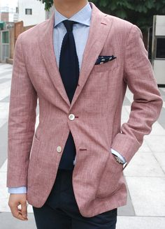 summer blazer. I love this textured look and love a man that wears colour who is comfortable in his skin to do so.  Original poster's comment above. I think this is linen (?). But a really sexy drape nonetheless.