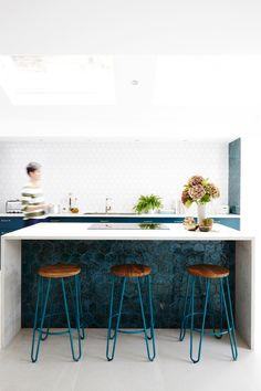 New Terracotta glazed ceramic tiles - 'Mystery Teal Explosion' Hexagon shaped tiles Galley Kitchen Design, Kitchen Island Decor, Kitchen Counter Stools, Kitchen Styling, Kitchen Designs, Kitchen Ideas, Kitchen Tile Inspiration, Open Plan Kitchen Living Room, Narrow Kitchen