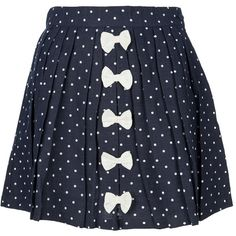 THE VILLAGE GREEN Polka skirt with Bows (240 RON) ❤ liked on Polyvore featuring skirts, bottoms, saias, faldas, patterned skirts, polka dot skirts, pleated skirt, navy and white skirt and cotton skirts