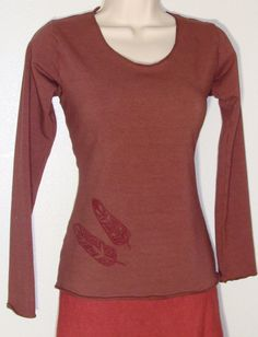 Organic Cotton and soy blend Terry cloth Long Sleeve with original feather art. Handmade and dyed by MysterySchool, $78.00