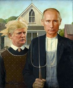 "American Gothic Parody - ""Russian Hacking Gothic"" by Vince Gotera American Gothic Parody, American Gothic Painting, American Horror, Appropriation Art, Grant Wood, Monalisa, Photoshop, Photocollage, Arte Pop"