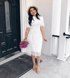 Photo where can i get this lace white dress should b avaliable at good price and quality . Modest Summer Outfits, Cute Summer Dresses, Modest Wedding Dresses, Summer Outfits Women, Spring Dresses, Classy Outfits, Stylish Outfits, Casual Dresses, Spring Outfits
