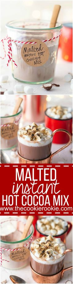 MALTED INSTANT HOT CHOCOLATE MIX is so easy to make at home and perfect for homemade Christmas gifts! You'll never buy premade mix again! The added malt flavor takes it over the top and makes it one of my most favorite versions of hot cocoa!