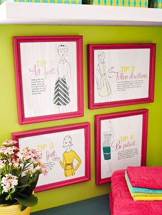 vintage 1961 Better Homes & Gardens illustrations transformed into funky laundry-room wall art! LOVE IT!