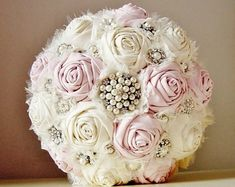 Brooch Wedding Bouquet, Vintage Bridal Bouquet, Fabric Flower Bouquet, Wedding Bouquet - this is a 50% DEPOSIT ONLY
