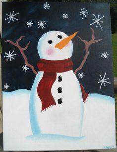 Acrylic painting snowman #canvas #art #acrylic #paintnight #christmas #winter