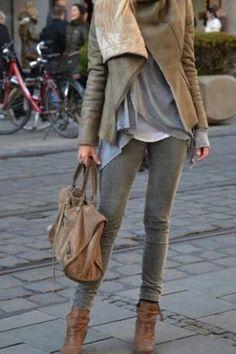 moda de invierno cafe y gris