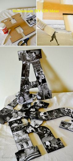 DIY Projects with Letters Lots of easy tutorials including this DIY photo collage letter project by House on the Way! Diy Gifts For Friends, Diy Crafts For Gifts, Crafts For Kids, Presents For Boyfriend, Boyfriend Gifts, Surprise Boyfriend, Boyfriend Ideas, Boyfriend Birthday, Brief Collage