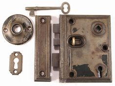 Pat 1862 Beveled Edge Victorian Door Rim Box Lock Set w Skeleton Key & Brass Bolts - Russell Erwin - Antique Hardware (45.00 USD) by DroxDesigns