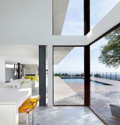Large windows, white interior