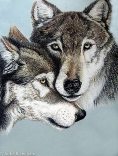 "Nature Animal Wolf Painting "" Wolves "" 5 x 7 Print"
