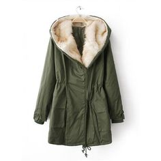 Laple Hooded Long-sleeve Coat Green$79.00 (110 AUD) ❤ liked on Polyvore featuring outerwear, coats, jackets, kurtki, tops, green hooded coat, long sleeve coat, green coat and hooded coat