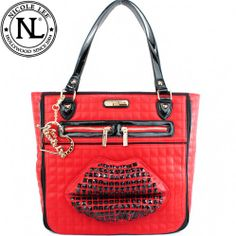 Nicole Lee Quilted Stud Lip Shoulder Bag All kinds of Handbags you love is here ☞  Click here for more Detail.  http://www.handbagloverusa.com