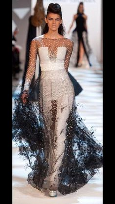Runway black and white gown