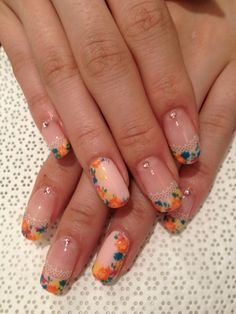 #nail #nails #nailart colorful flowers framing the nails with leave detail on nude. Nail design