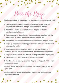 Pass the Prize, Pass the Parcel Game, Pink Gold Baby Shower Game Printable, Winter, Glitter Baby Sho - Party Ideen Baby Shower Winter, Baby Shower Fun, Baby Winter, Games For Baby Shower, Girls Birthday Party Games, 13th Birthday Party Ideas For Girls, Teenage Party Games, Birthday Games For Adults, Party Games For Girls